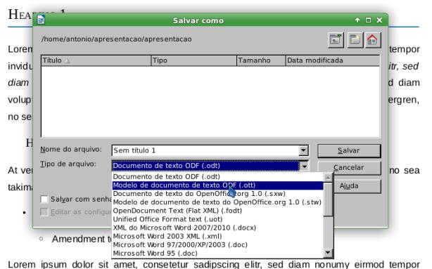 LibreOffice - criar um modelo