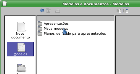 LibreOffice - escolher o modelo