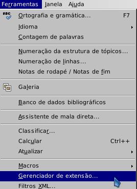 LibreOffice - Gerenciador de Extensão