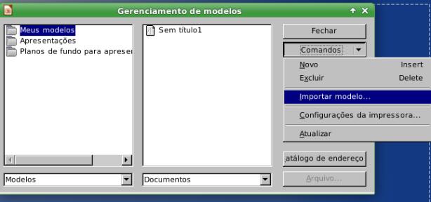 LibreOffice - gerenciamento de modelos