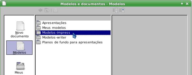 LibreOffice - pastas de modelos criadas