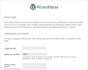 Tela para configuração inicial do WordPress