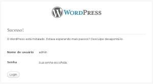 Tela informando sucesso na instalação do WordPress.