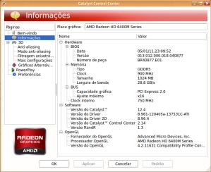 Configuração da placa gráfica Radeon HD 6400M instalada.