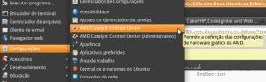 Entrada no menu para configurar a controladora de vídeo Radeon.