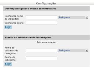 Tela de instalação dos acessos do Egroupware