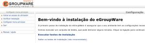 Tela inicial de instalação do Egroupware