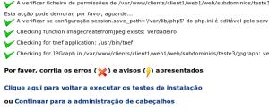Tela de testes de instalação do Egroupware