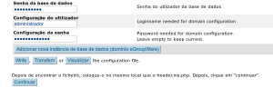 Tela de configuração base de dados do Egroupware
