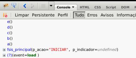 Tela com saída no console do Firebug para sua função trace.