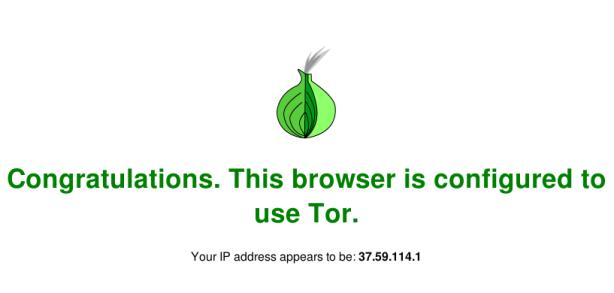 Tor - tela confirmação