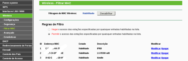 Filtros de MAC address