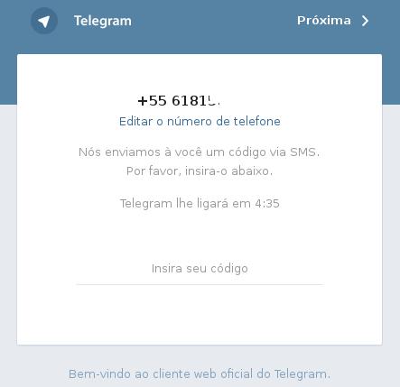 Tela do Telegram-web para inserir o código de identificação do usuário