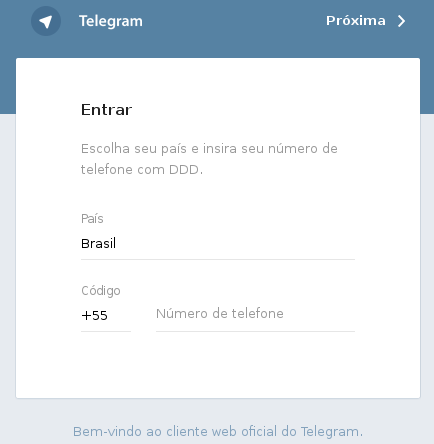 Tela de login do Telegram-web