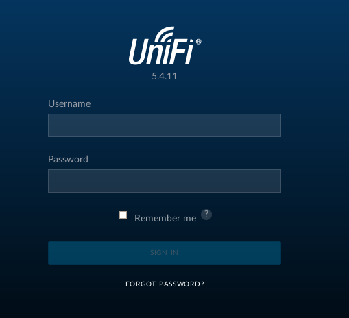 Tela de login do UniFI