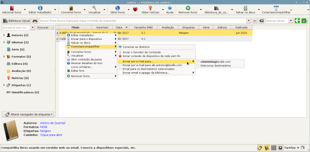 Enviar e-books por e-mail utilizando o Calibre