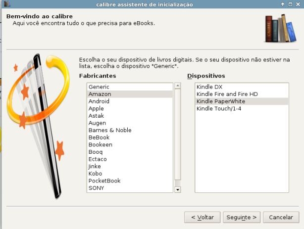 Calibre - selecionar seu dispositivo de leitura de e-books