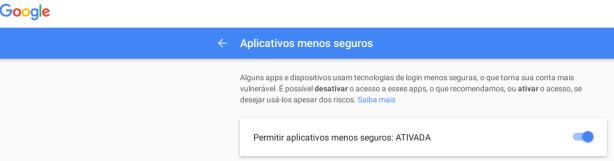 Gmail - configurar conexões menos seguras