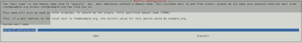 Tela 2 de instalação do Postfix